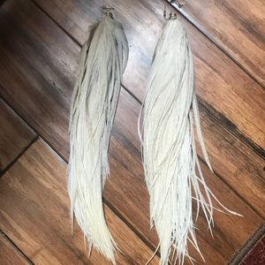 Beautiful Thick Creme Pheasant Feather Earrings